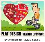 man is riding bicycle healthy... | Shutterstock .eps vector #323751653