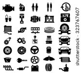 vector car parts set icons  | Shutterstock .eps vector #323767607