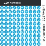 gym 100 icons universal set for ... | Shutterstock . vector #323794847