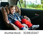 Adorable Baby Boy In Safety Ca...