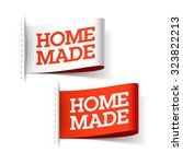 homemade white and red labels.... | Shutterstock .eps vector #323822213