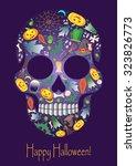 merry halloween skull with... | Shutterstock . vector #323826773