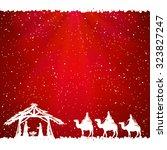 christian christmas scene on... | Shutterstock .eps vector #323827247