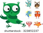 set of vector cartoon birds  ... | Shutterstock .eps vector #323852237