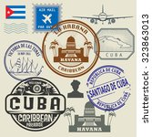 travel stamps set  vector... | Shutterstock .eps vector #323863013