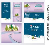 set of merry christmas banners... | Shutterstock .eps vector #323864933