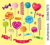 different types of candies... | Shutterstock .eps vector #323867873