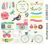 scrapbook set | Shutterstock .eps vector #323885123