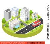 flat 3d isometric hippie van in ... | Shutterstock .eps vector #323886977