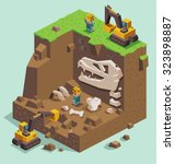 isometric excavation on fossil... | Shutterstock .eps vector #323898887