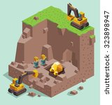 land dig for gold mining.... | Shutterstock .eps vector #323898947