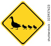 Yellow Warning Sign Ducks Family