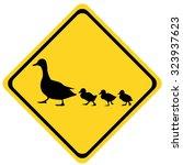 Yellow Warning Sign Ducks Family
