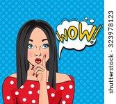 wow bubble pop art. thoughtful... | Shutterstock .eps vector #323978123
