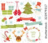 vintage merry christmas and...   Shutterstock .eps vector #323979317