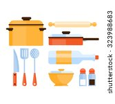 colourful kitchen utensils and... | Shutterstock .eps vector #323988683