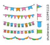 holiday set of bright garlands... | Shutterstock .eps vector #323991113