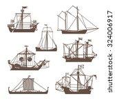 Set Of Vintage Sailing Ships....