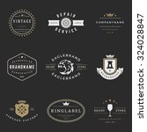 retro logotypes vector set.... | Shutterstock .eps vector #324028847