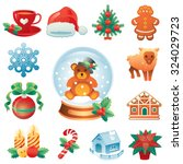 christmas icon set containing... | Shutterstock .eps vector #324029723