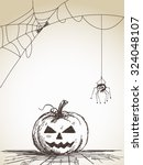 halloween sketch of pumpkin and ... | Shutterstock .eps vector #324048107