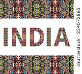 india sign with tribal ethnic... | Shutterstock .eps vector #324072863