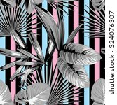 tropical  palm leaves pattern ... | Shutterstock .eps vector #324076307