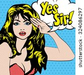 "pop art woman salute. ""yes sir ""... 