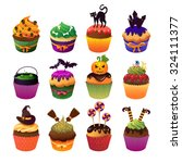 cupcake set. happy halloween... | Shutterstock .eps vector #324111377