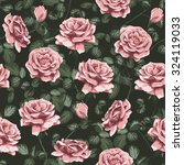 seamless rose pattern | Shutterstock .eps vector #324119033