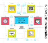 website creation process line... | Shutterstock .eps vector #324121373