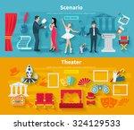 theater horizontal banner set... | Shutterstock .eps vector #324129533