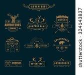 hand drawn logo set. retro... | Shutterstock .eps vector #324143837