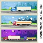 set of web banners trucks....   Shutterstock .eps vector #324163403