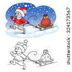 coloring book or page. mouse... | Shutterstock .eps vector #324173567