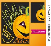 halloween set. colorful poster... | Shutterstock .eps vector #324194777