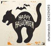 retro vintage halloween vector... | Shutterstock .eps vector #324254393