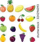cartoon fruits  | Shutterstock .eps vector #324296093
