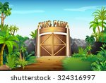 the gate of dino park... | Shutterstock .eps vector #324316997