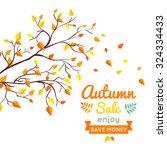 autumn sale vector retro poster ...   Shutterstock .eps vector #324334433