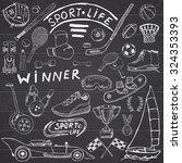 sport life sketch doodles... | Shutterstock .eps vector #324353393