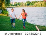 beautiful loving couple going... | Shutterstock . vector #324362243