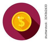 gold dollar coin in a circle.... | Shutterstock .eps vector #324362633
