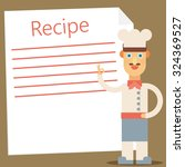 chef presenting recipe card.... | Shutterstock .eps vector #324369527