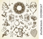 vector set christmas hand drawn ... | Shutterstock .eps vector #324384167