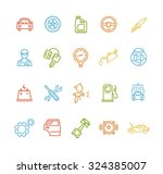 car service outline colorful... | Shutterstock .eps vector #324385007