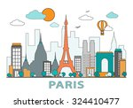 thin line flat design of paris... | Shutterstock .eps vector #324410477