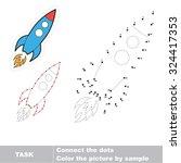 number game. one cartoon rocket ... | Shutterstock .eps vector #324417353