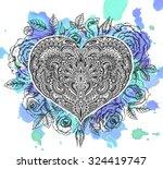 beautiful hand drawn ornate...