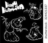 vector set of funny halloween... | Shutterstock .eps vector #324421337